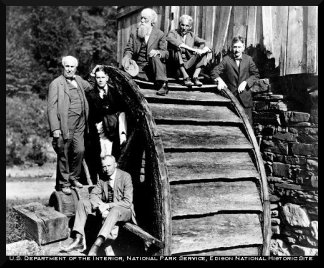 The Vagabond Club:  Professor DeLoach sitting at bottom of waterwheel & above (l-r), Edison, Harvey Firestone, Jr., John Burroughs, Henry Ford, & Harvey Firestone, Sr.